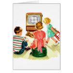 Niños retros de la televisión del kitsch TV del vi Tarjeta