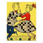 Niños retros del crucigrama del kitsch 60s del postal
