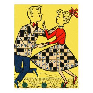 Niños retros del crucigrama del kitsch 60s del vin tarjeta postal