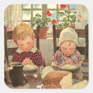 Niños retros del tema que bendicen a sus pegatinas colcomanias cuadradass