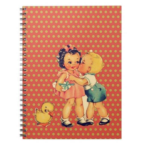 niños retros lindos de la escuela del vintage de l cuadernos