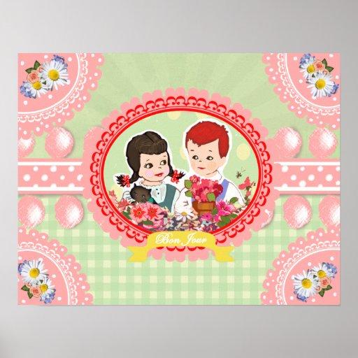 Niños retros lindos del kitsch con las flores - posters