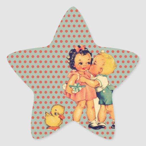 Niños retros lindos del vintage de los lunares de calcomanías forma de estrellaes personalizadas