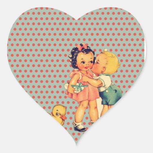 Niños retros lindos del vintage de los lunares de pegatina en forma de corazón
