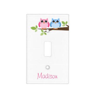 Niños rosados y búho azul personalizado tapa para interruptor