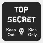 Niños secretísimos pegatinas cuadradases