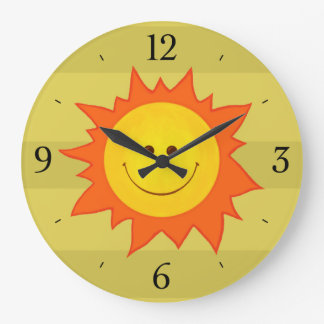 Niños sonrientes felices de Sun del dibujo animado Reloj Redondo Grande