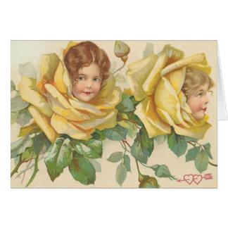 Niños subiós tarjeta del día de San Valentín dulce