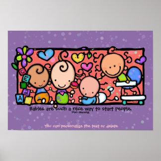 Niños Sweetlings de los niños de los bebés. púrpur Póster