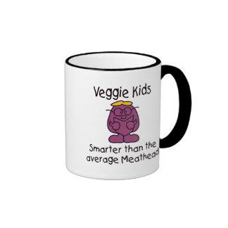 Niños vegetarianos divertidos taza de dos colores