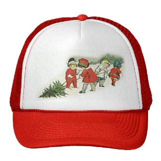 Niños y árbol de navidad del vintage gorros bordados