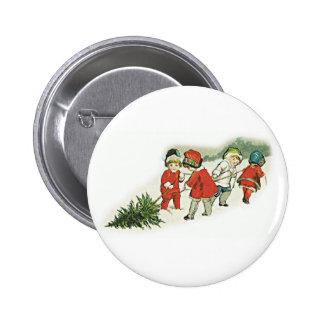 Niños y árbol de navidad del vintage pin redondo de 2 pulgadas