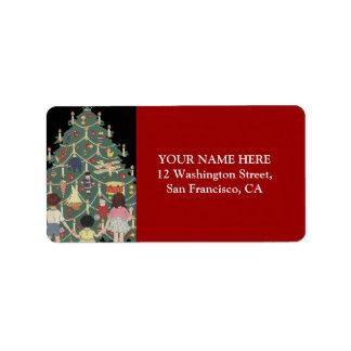 Niños y árbol de navidad - ejemplo del vintage etiqueta de dirección