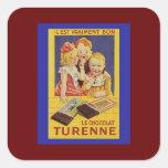 Niños y barra de chocolate franceses lindos pegatina cuadradas personalizada