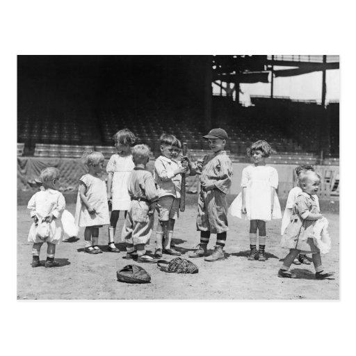 Niños y béisbol, 1900s tempranos postales