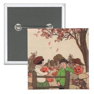 Niños y calabazas del guión del vintage pin