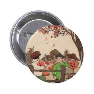 Niños y calabazas del guión del vintage pins