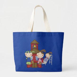 Niños y camisetas y regalos de la escuela bolsa tela grande