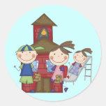 Niños y camisetas y regalos de la escuela pegatina redonda