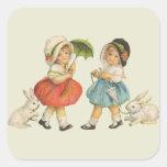 Niños y conejos del vintage calcomania cuadrada personalizada
