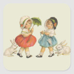 Niños y conejos del vintage pegatina cuadrada