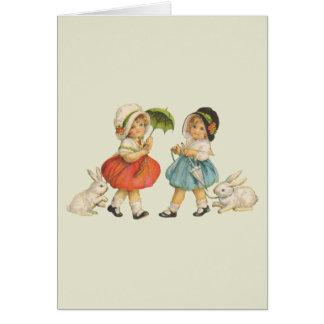 Niños y conejos del vintage tarjeta de felicitación