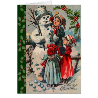 Niños y muñeco de nieve del vintage tarjeta de felicitación