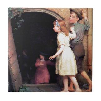 Niños y pintura asustadiza del lugar del sótano azulejo cuadrado pequeño