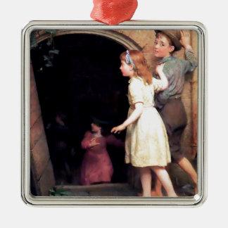 Niños y pintura asustadiza del lugar del sótano ornamentos para reyes magos