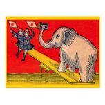 Niños y postal japoneses del elefante
