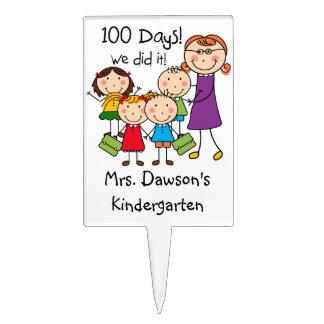 Niños y profesor de sexo femenino 100 días decoraciones para tartas