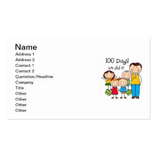 Niños y profesor de sexo masculino 100 días tarjetas de visita