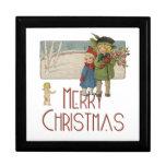 Niños y querube del navidad del vintage caja de regalo