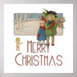 Niños y querube del navidad del vintage poster