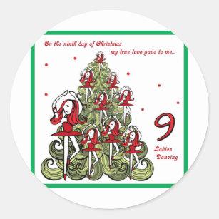 Ninth Day Of Christmas.Ninth Day Of Christmas Classic Round Sticker