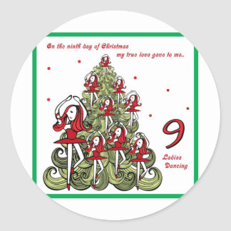 Ninth Day of Christmas Classic Round Sticker