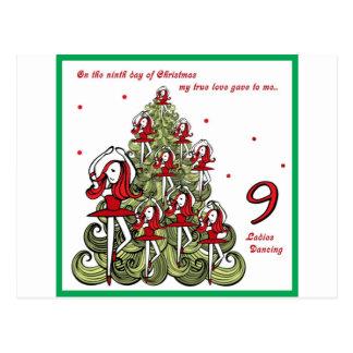 Ninth Day of Christmas Postcard