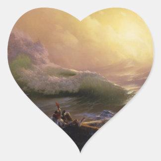 Ninth wave 涛 heart sticker
