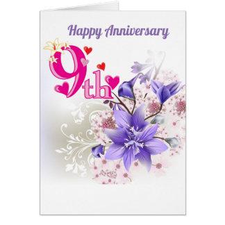 Ninth Wedding Anniversary Card