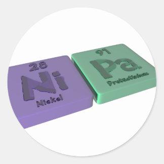 Nipa as Ni Nickel and Pa Protactinium Classic Round Sticker
