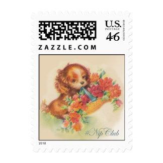 Nipclub Vintage Dog with Flowers Stamp