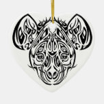 Nire's Hyena Tribal Design Double-Sided Heart Ceramic Christmas Ornament
