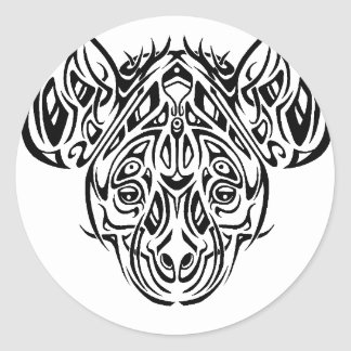 Nire's Hyena Tribal Design Round Stickers