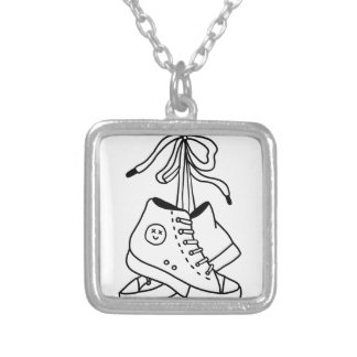 NIRVANA CONVERSE, CONVERSE, SNEAKERS, CUTE DESIGN SILVER PLATED NECKLACE
