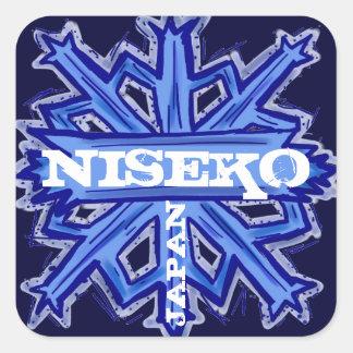 Niseko Japan blue snowflake art stickers
