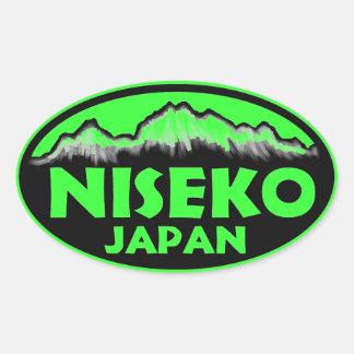 Niseko Japan green oval stickers