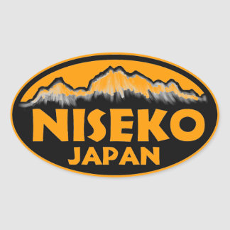 Niseko Japan orange oval stickers