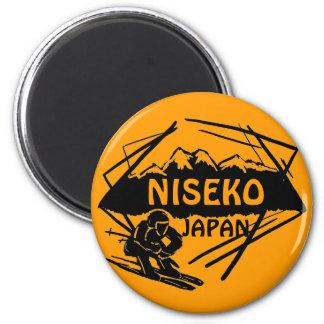 Niseko Japan orange ski logo art souvenir magnet
