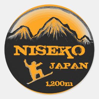 Niseko Japan orange snowboard art souvenir sticker