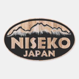 Niseko Japan wooden oval stickers